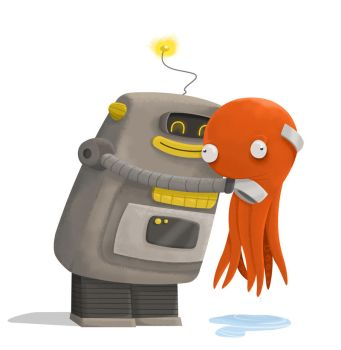 Robot Love Octopus by 2DCale