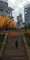 Destroyed Office Complex in Autumn by jjnaas
