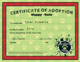 Tyler and Eria: HT adoption certificate by KikiLime