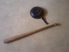 Baseball bat and a frying pan by DarkfireMetal