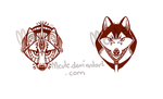 Tribal Designs - fox and husky by Kel-Del