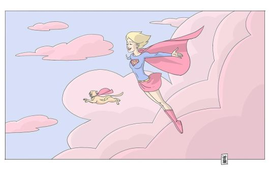 Supergirl and Streaky  by hyperjack08
