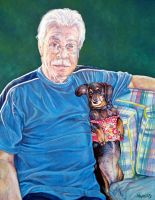 A Father and his Dachshund by whiterabbitart