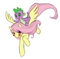 MLP FIM - Fluttershy and Spike by vaidg