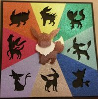Shiny Eevee Evolution Shadow Box by ShadowOfDorkness