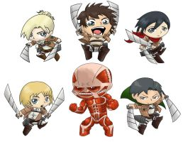 Attack On Titan Chibis by Nickyparsonavenger