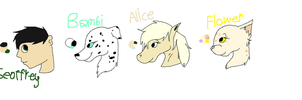 Geoffrey, Bambi, Alice, and Flower ref sheet by Helkie-three