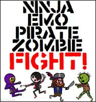 Ninja Emo Pirate Zombie Fight by niboswald
