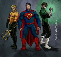 The Justice League: Aquaman Superman Green Lantern by DirkPower