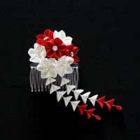 Red and White Tsumami Kanzashi with Shidare 199 by japanesesilkflowers