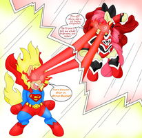 :Commission: Super Powered Sisterly Spat by BlackBeWhite2k7