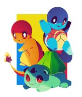 Kanto Starters Poster by hollyfig