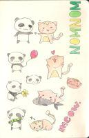 Kitty Cat and Poopy Panda by micheeyo