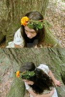 Fall Marigold Floral Crown by ValkyrieOfODIN