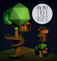 .:[DL] Low-Poly Tree House:. by yuwa23