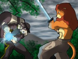 Lion VS Skunk by TheBurningDonut