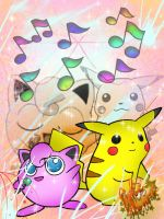 Jigglypuff and Pikachu singing by PokeHeart