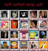 Bugbud's House of DEATH (Horror Cast MEME) by Sunny-Scribble