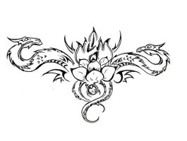 +Lotus Dragons Tattoo Design+ by ApocalypticReignbow