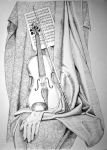 Still life with violin by Pobrodiaga