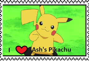 Ash's Pikachu fan Stamp by Fran48