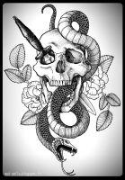 TATTOO - Skull, Snake and Dagger by mad-smile