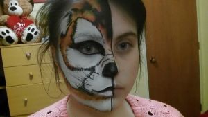Tiger/ wolf facepaint by Blueberrystarbubbles