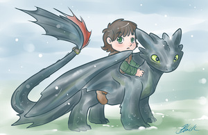 HTTYD - Toothless and Hiccup by caycowa