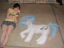 Me and Vinyl Scratch Chalk drawing by SpirittigerRei