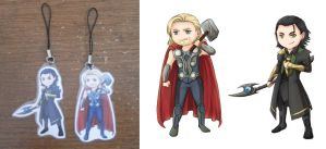 Thor and Loki charms by ladyarrowsmith