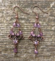 Copper Flower earrings by Lost-in-the-day