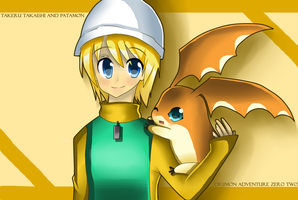 Takeru and Patamon by Daiyako