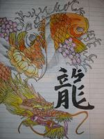 Koi and dragon by BossHossBones