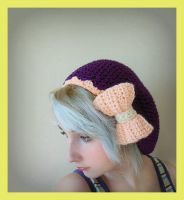 Slouchy Dark Purple Beret With Pink Bow by Ashler-Sauce