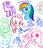 Pony Sketches by Lyanna-the-Ghost