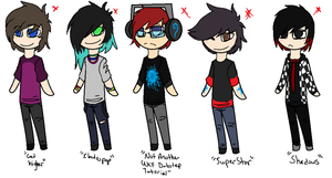 Music Themed Boy Adoptables CLOSED by InfectedZombieX