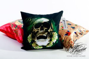 White Roses Pillow by DZNFlavour