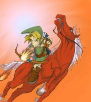 Link and Epona colored by jiggyfresh