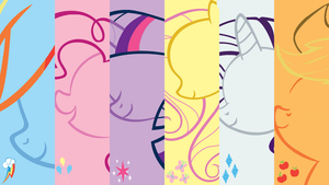 Minimalistic Mane 6 Wallpaper by MrFugums