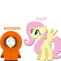 Kenny and Fluttershy (South Park MLP Crossover) by kennyisbestpony