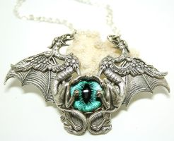 Gothic Necklace Evil Eye Griffons by byrdldy