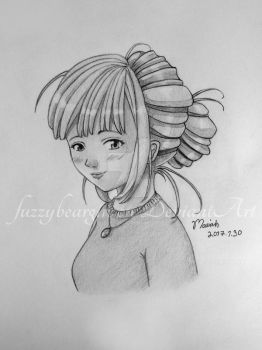 Girl with Updo by fuzzybeargirl