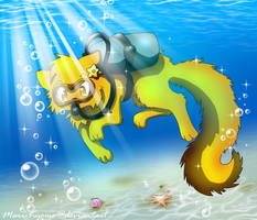 Scuba diving Kitten by Mari-Kyomo