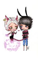 Chibi Cheshire and Clyde by Sweetillita