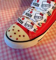 HELLO KITTY NERD RED CUSTOM CONVERSE KAWAII by KAWAIIBOUTIQUE