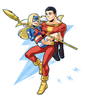 Captain Marvel and Stargirl by Sii-SEN