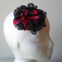 Black and  Red Fascinator by MONJIO