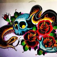 skull snake tattoo design by jerrrroen