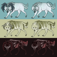 Wolf-Deer Adoptable Set by Tonrotea
