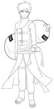 Gaara - Lineart by ParagonOfVirtue